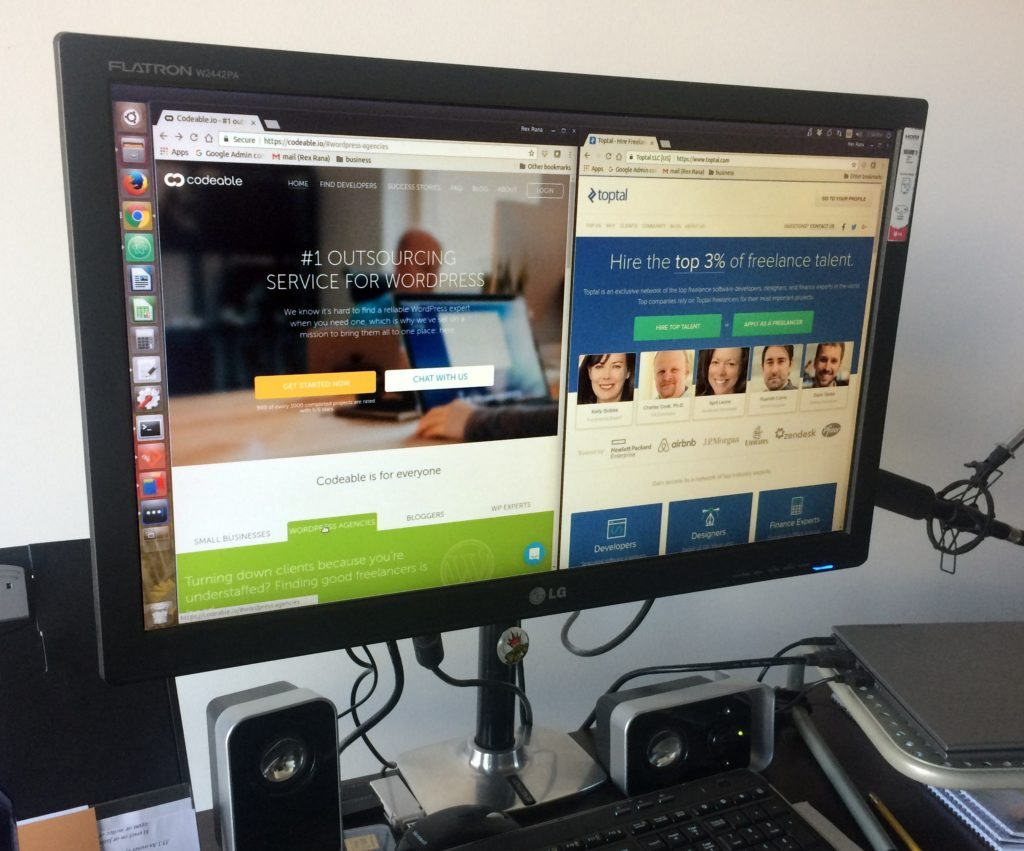 Codeable and Toptal websites on computer monitor